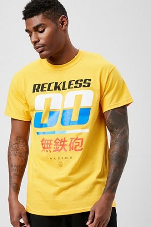 Reckless Graphic Tee by 21 MEN Yellow