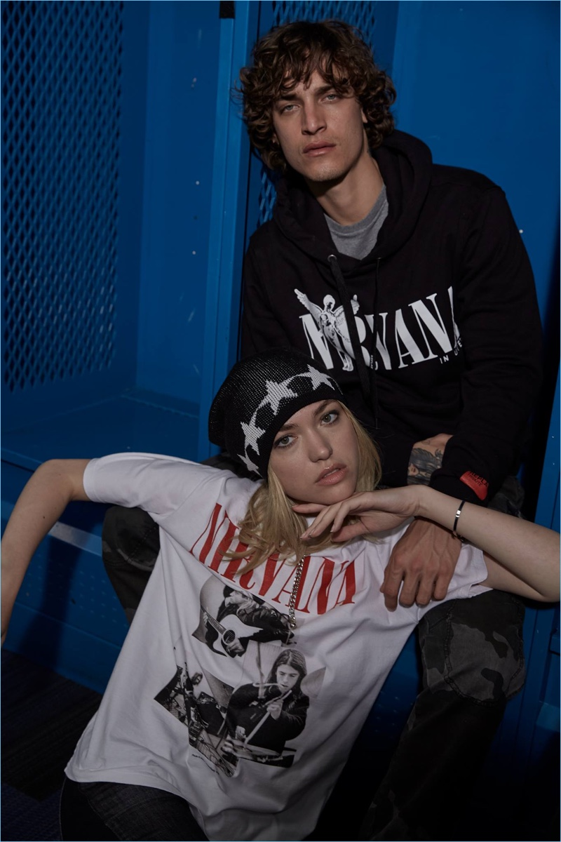 Cora Keegan and Jonathan Bellini wear pieces from Replay's Nirvana collection.