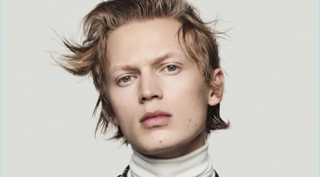 Jonas Glöer stars in Sacai's fall-winter 2018 campaign.