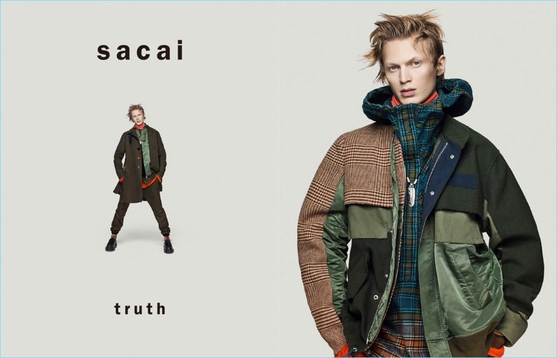 German model Jonas Glöer fronts Sacai's fall-winter 2018 campaign.