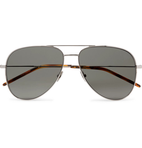 Saint Laurent - Classic 11 Aviator-Style Silver-Tone Metal Sunglasses - Silver