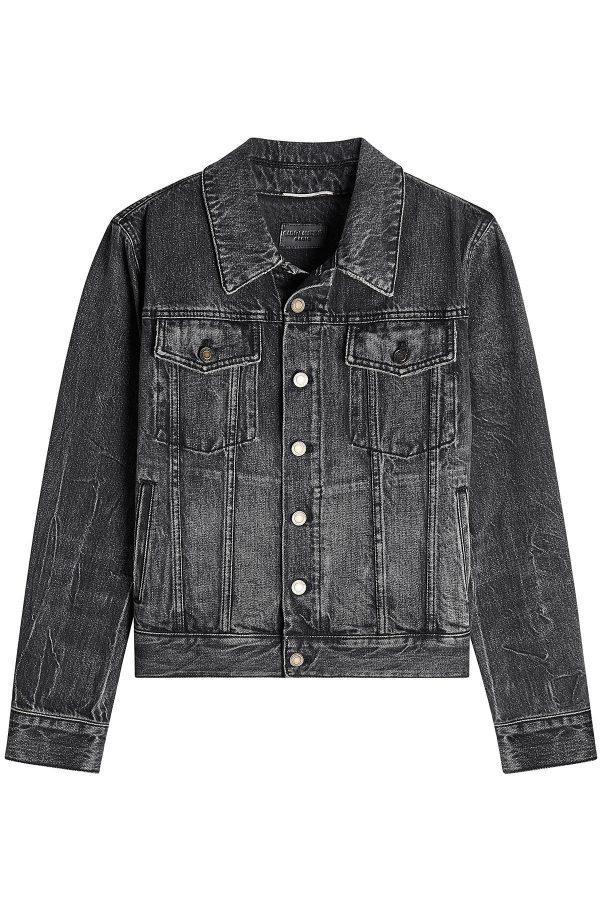 Saint Laurent Denim Jacket with Embroidered Reverse