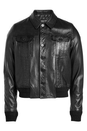 Saint Laurent Leather Blouson with Knit Cuffs