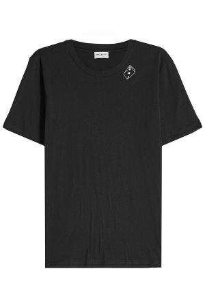 Saint Laurent Playing Card printed Cotton T-Shirt
