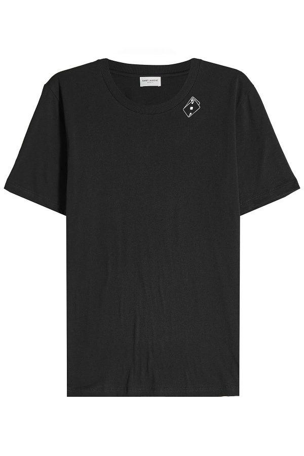 Saint Laurent Playing Card printed Cotton T-Shirt
