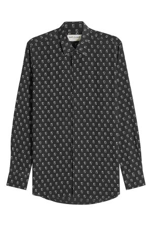 Saint Laurent Poker Card Printed Silk Shirt