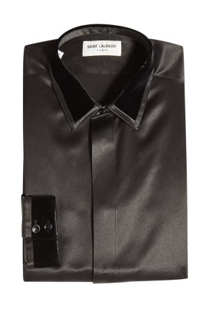 Saint Laurent Silk Shirt with Velvet Trims