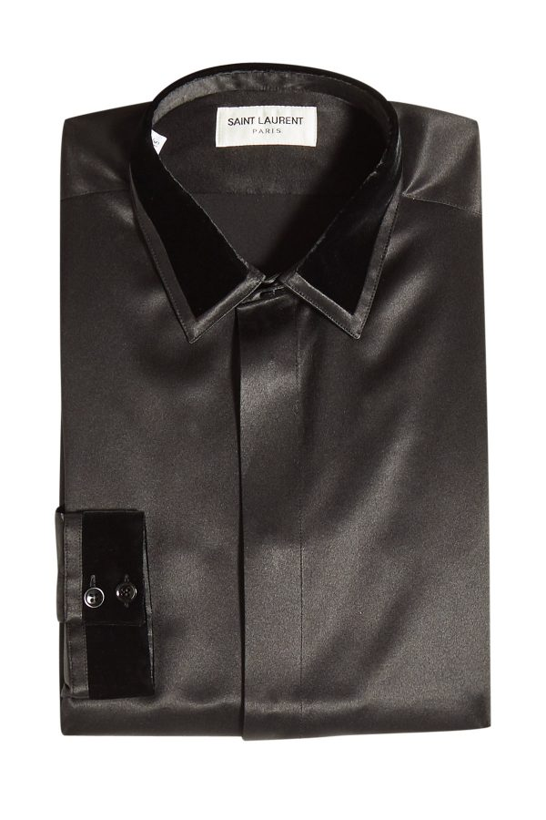 Saint Laurent Silk Shirt with Velvet Trims