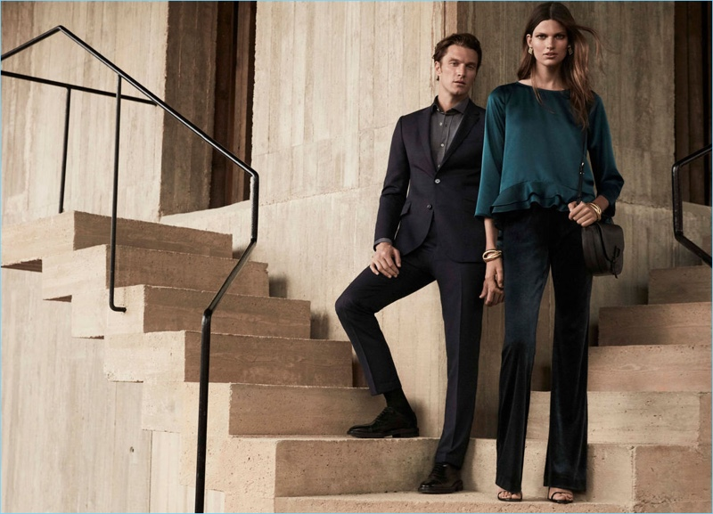 """Models Shaun Dewet and Bette Franke couple up for Pedro del Hierro's """"Luxury Travel"""" campaign."""