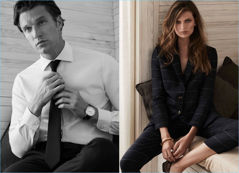 """Dressed to impress, models Shaun Dewet and Bette Franke front Pedro del Hierro's fall-winter 2018 """"Luxury Travel"""" campaign."""