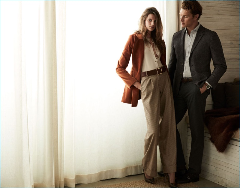 """Pedro del Hierro enlists models Bette Franke and Shaun Dewet for its fall-winter 2018 """"Luxury Travel"""" campaign."""