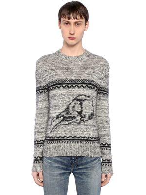 Skull Wool Blend Jacquard Sweater