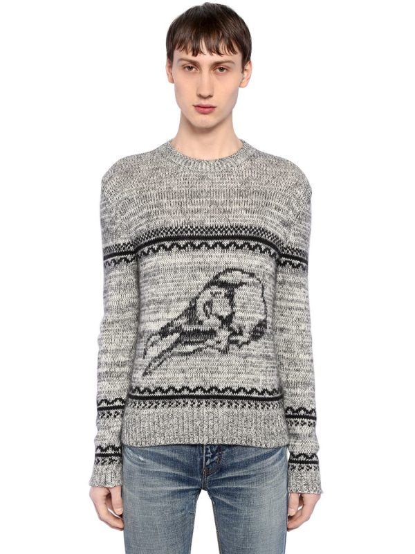 Skull Wool Blend Jacquard Sweater