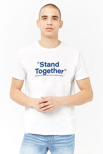 Stand Together Graphic Tee by 21 MEN White/royal