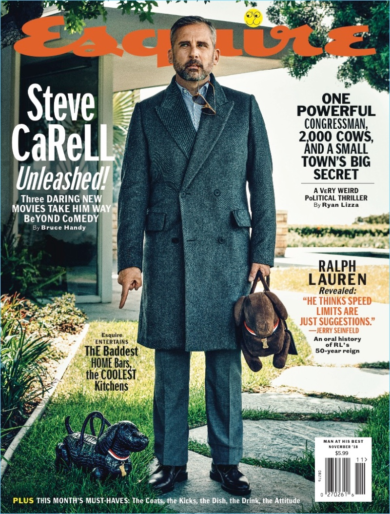 Steve Carell covers the November 2018 issue of Esquire.