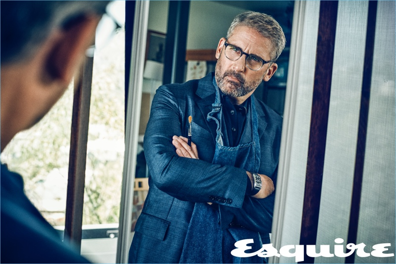 Starring in an Esquire photo shoot, Steve Carell dons a polo and jacket by Ermenegildo Zegna with a Tom Ford watch.