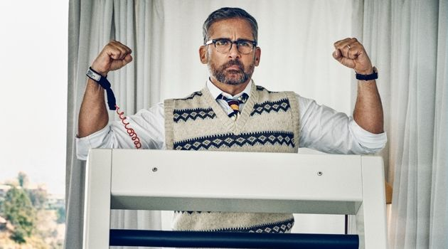 Actor Steve Carell wears a Gucci shirt and trousers with a vintage sweater vest and tie from Early Halloween, Vintage Clothing, N.Y.C. Carell also dons a Rolex watch.