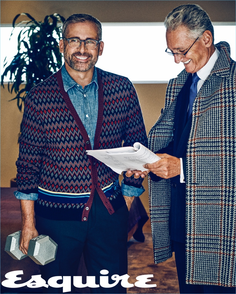 Photographed with his manager, Steve Carell dons a Prada cardigan sweater with a Mr P. shirt and trousers.