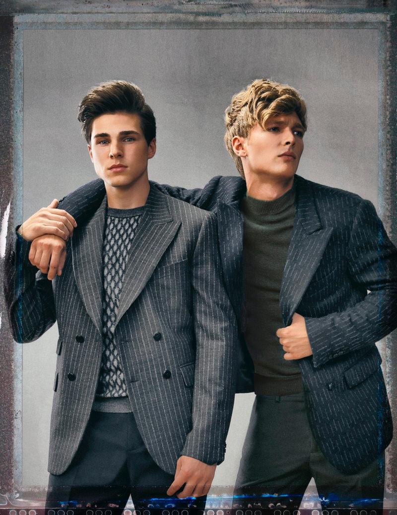 Alex D'Orazio and Austen Dickinson wear all clothes Christopher Bates.