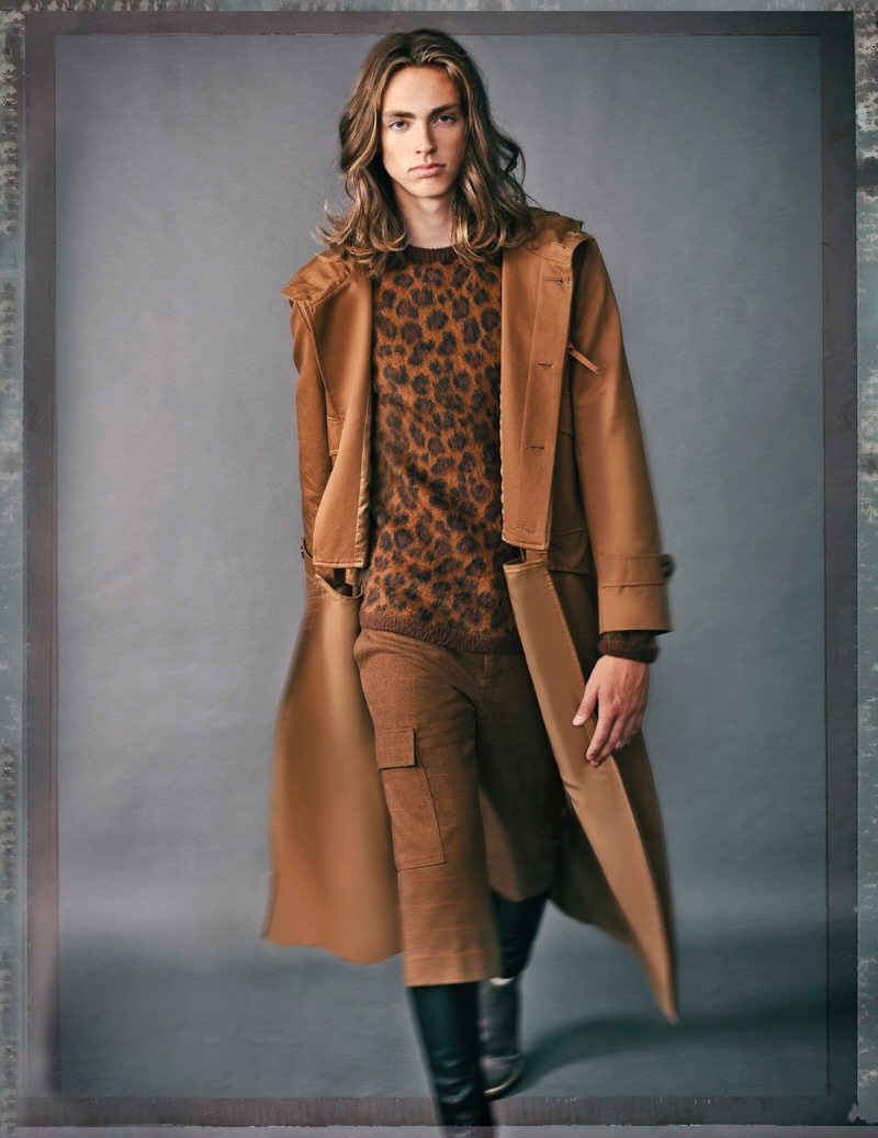 McKinley Lorenzen wears sweater H&M, tights Topman, boots Kenneth Cole, trench and shorts Hendrix Roe.