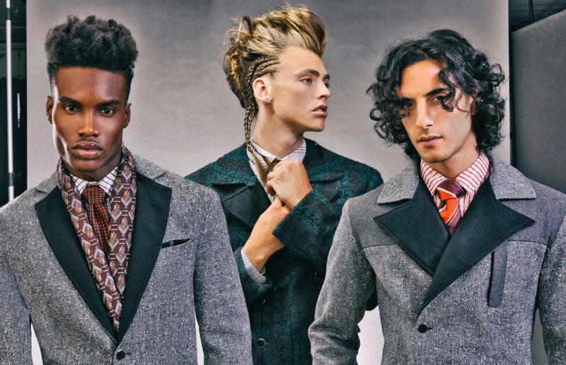 Roland Barziliar Jr, McKinley Lorenzen, and Reza Zohouri wear vintage accessories Christian Dior, shirts and coats Shelli Oh.