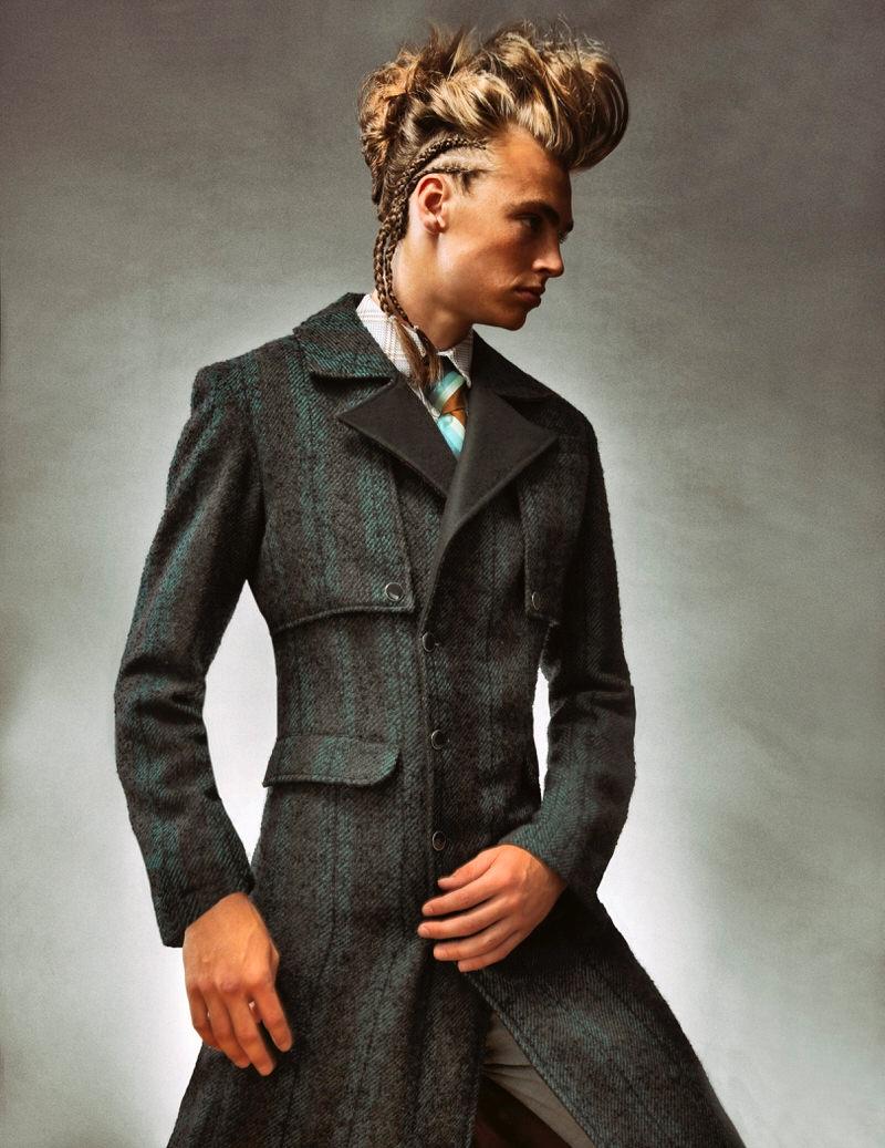 McKinley Lorenzen wears vintage tie, pants Calvin Klein, shirt and jacket Shelli Oh.