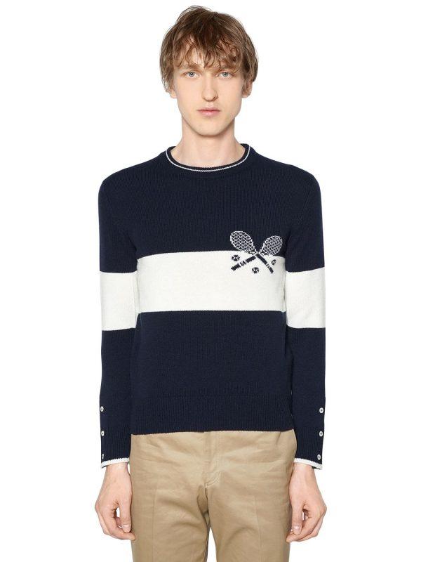 Striped Tennis Cashmere Knit Sweater