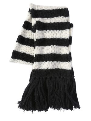 Striped Wool & Mohair Blend Knit Scarf