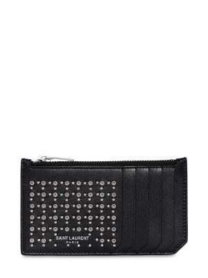 Studs & Eyelets Leather Zip Card Holder