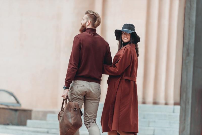 Stylish Couple Walking Streets