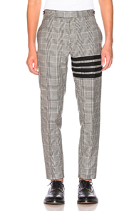 Thom Browne Heavy Wool Low Rise Trouser in Black,Plaid