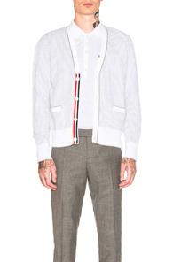 Thom Browne Seersucker Jacquard V-Neck Cardigan in Stripes,White