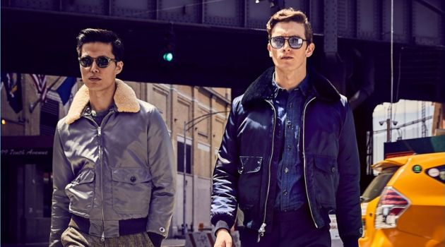 Models Dae Na and Oli Lacey sport flight jackets from Todd Snyder.
