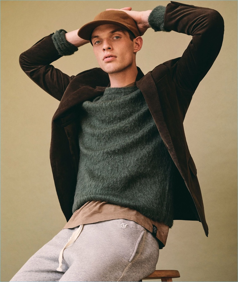 Rocky Harwood sports a brushed Italian wool crewneck sweater from Todd Snyder.