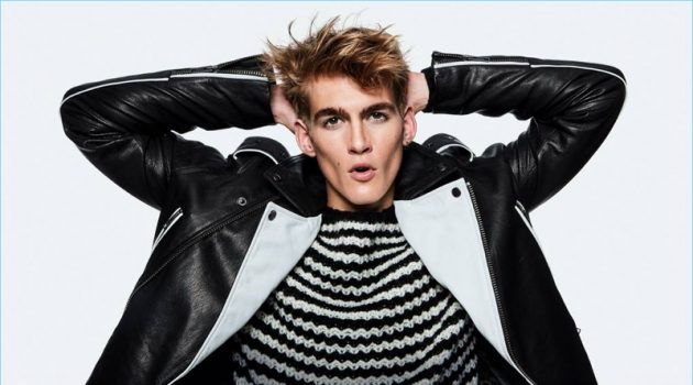 Presley Gerber rocks a black and white leather biker jacket for Topman's fall-winter 2018 campaign.