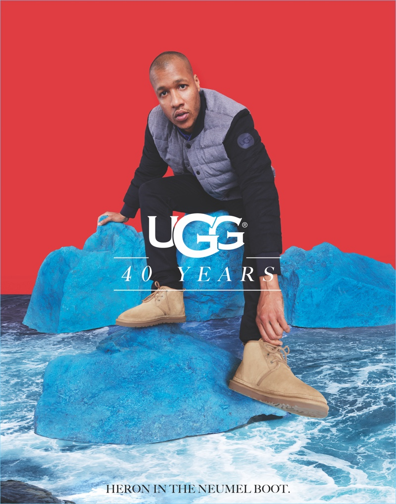 Heron Preston wears UGG's Neumel boots for the brand's 40th anniversary campaign.