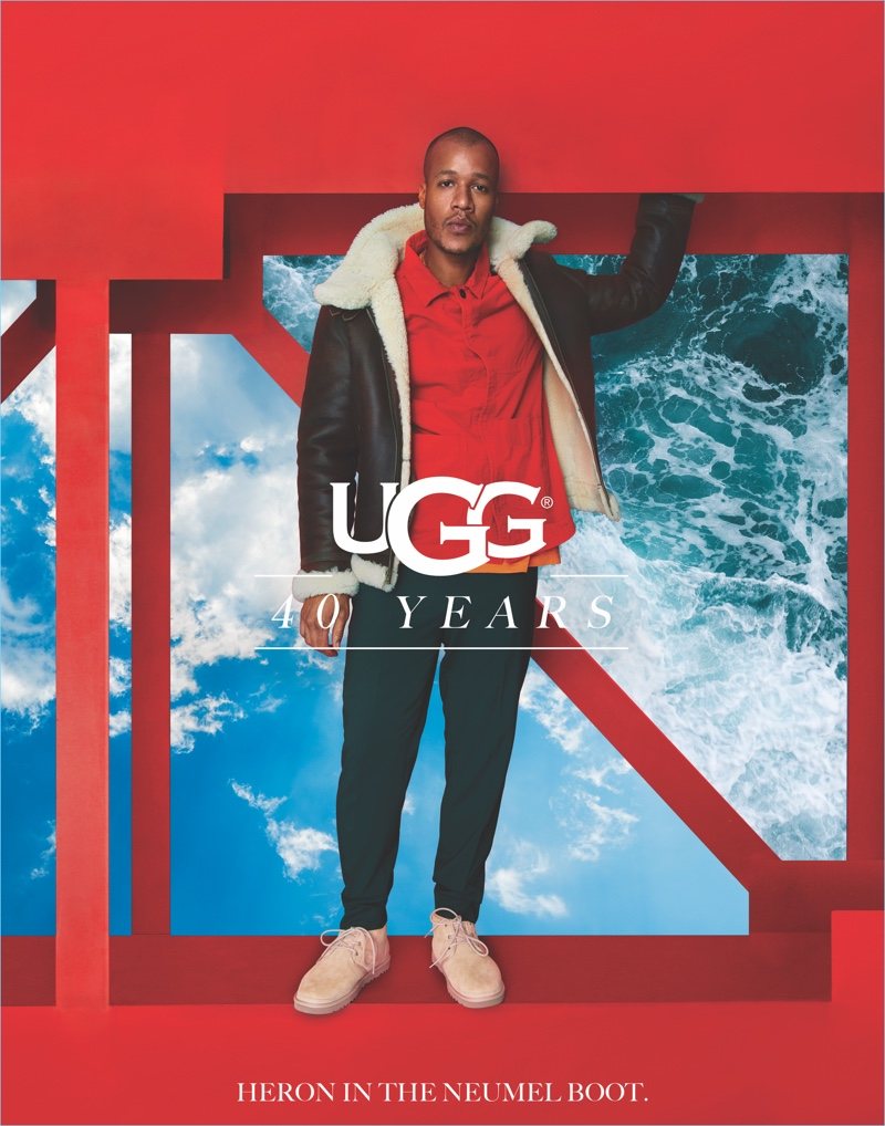 Designer Heron Preston sports UGG's Neumel boots for the brand's 40th anniversary campaign.