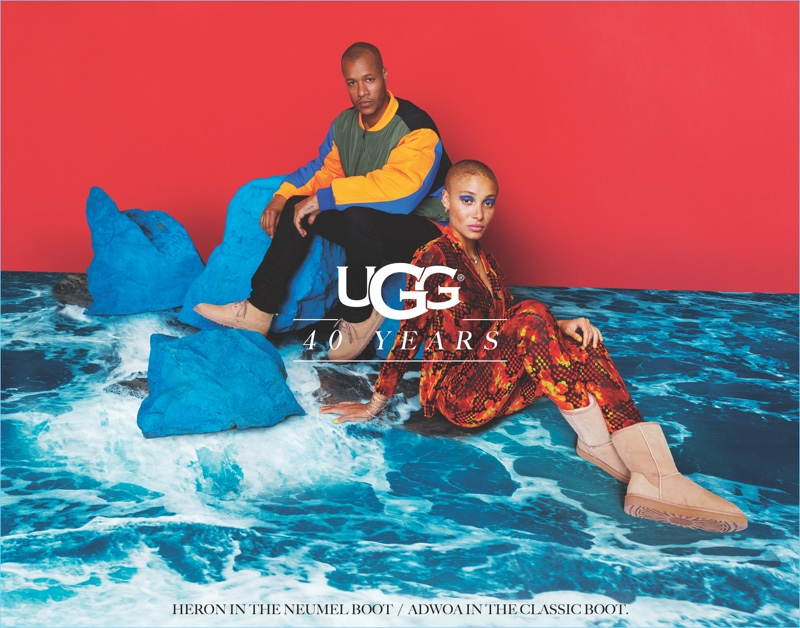 UGG taps designer Heron Preston and model Adwoa Aboah as the stars of its 40th anniversary campaign.