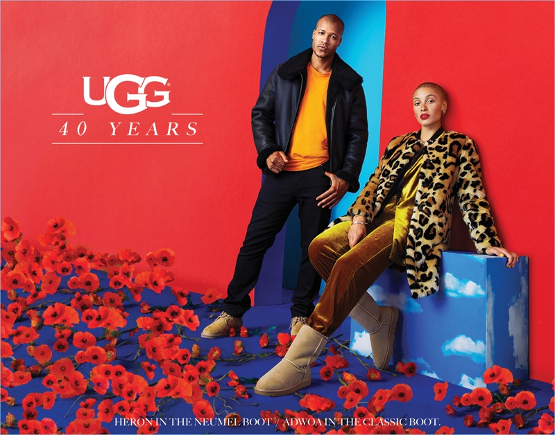 Heron Preston  and Adwoa Aboah front UGG's 40th anniversary campaign.