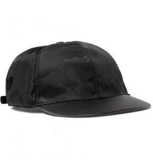 Valentino - Camouflage-Jacquard Shell and Leather Baseball Cap - Black