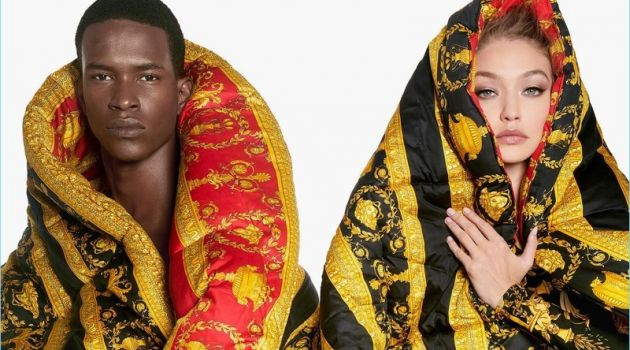 Salomon Diaz and Gigi Hadid front the Versace Eros Flame fragrance campaign.