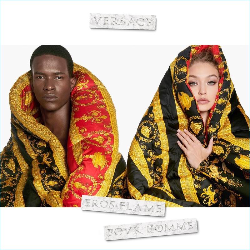 Salomon Diaz and Gigi Hadid front the Versace Eros Flame fragrance campaign.