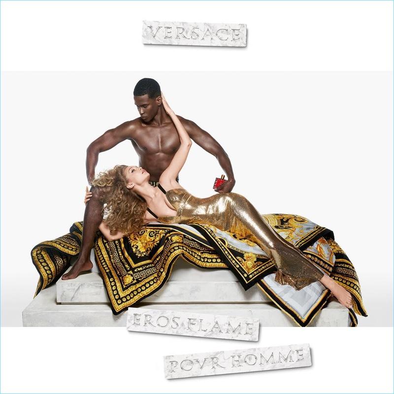 Steven Meisel photographs Salomon Diaz and Gigi Hadid for the Versace Eros Flame fragrance campaign.