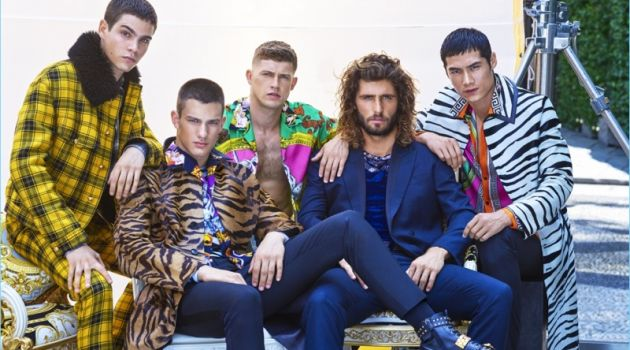 Models Federico Spinas, Ljubisa Grujic, Danny Blake, Alex Libby, and Hao Yun Xiang don Versace for GQ China.