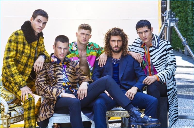 Models Federico Spinas, Ljubisa Grujic, Danny Blake, Alex Libby, and Hao Yun Xiang don Versace for GQ China.