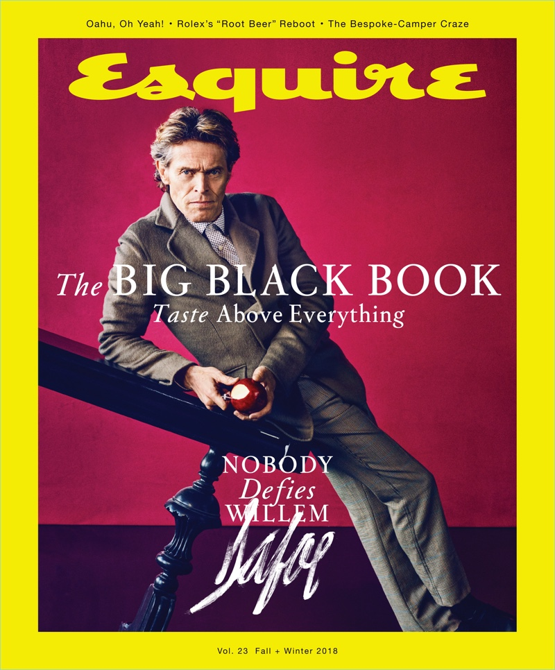 Willem Dafoe covers the fall-winter 2018 issue of Esquire's The Big Black Book.