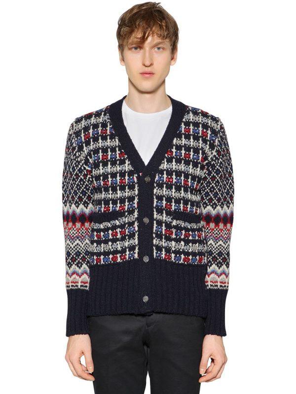 Wool & Mohair Jacquard Knit Cardigan