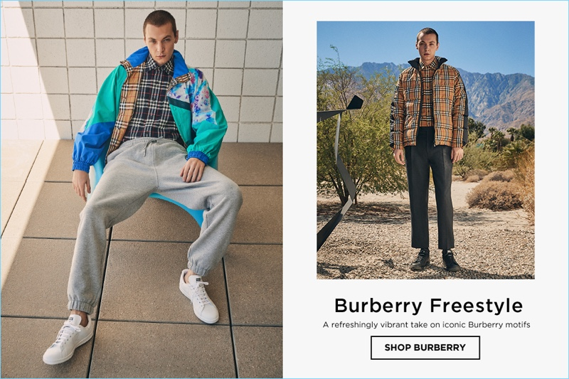 Left: Yuri Pleskun wears a Burberry reversible paneled track jacket, plaid shirt, and sweatpants. Right: Yuri sports a Burberry check shirt and jacket with cropped trousers.