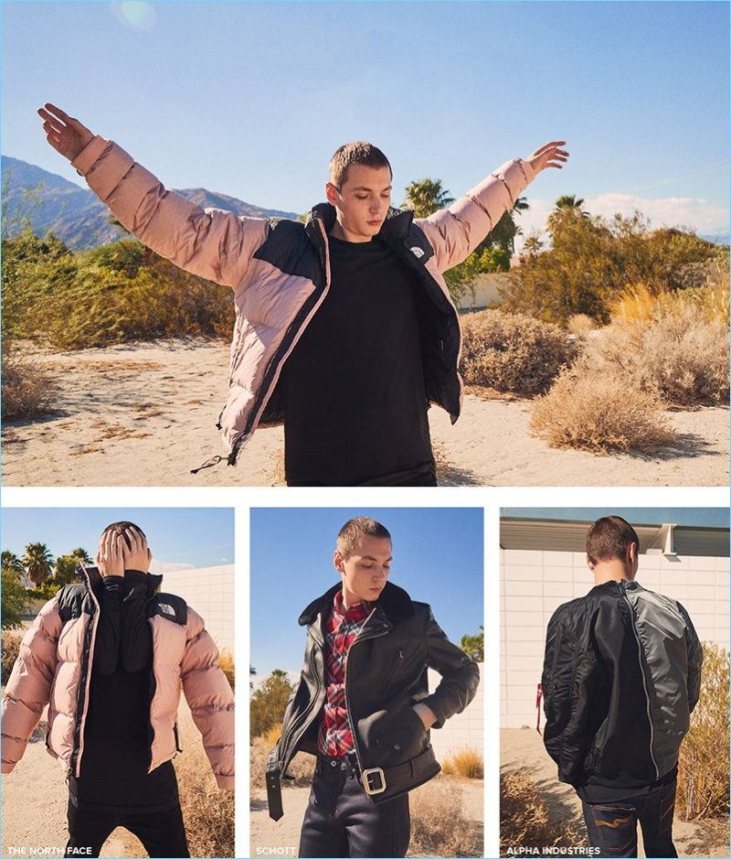 Ready for winter, Yuri Pleskun sports jackets from The North Face, Schott, and Alpha Industries.