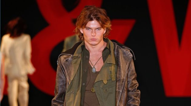 Jordan Barrett models a military-inspired look from Zadig & Voltaire's spring-summer 2019 men's collection.